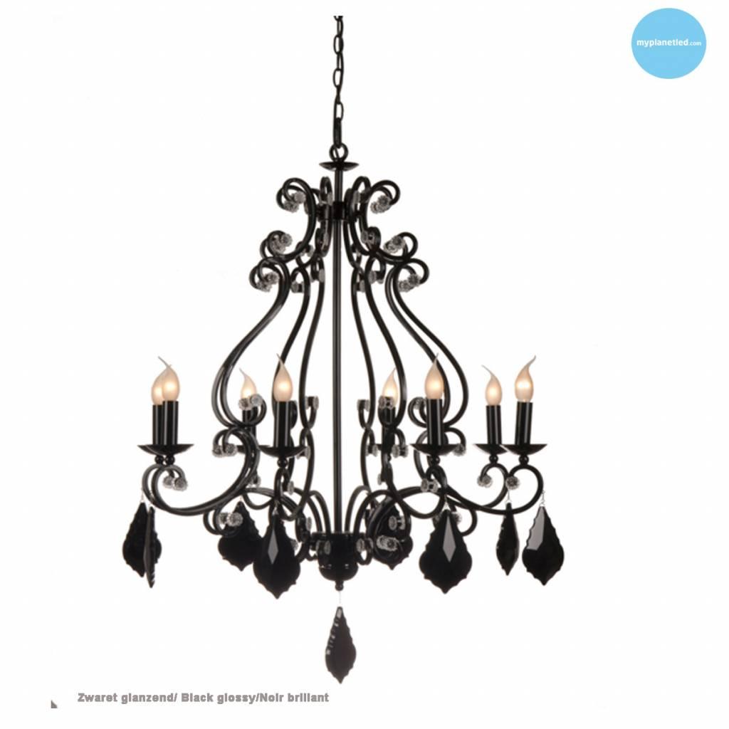 Beste Hanglamp kroonluchter zwart, grijs, wit E14x8 82cm Ø | Myplanetled XS-64