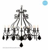Hanglamp kroonluchter zwart, grijs, wit E14x12 105cm