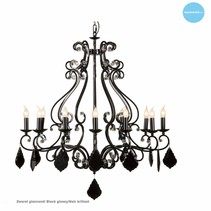 Chandelier pendant light black grey, white E14x12 105cm