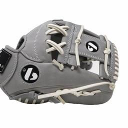 "FL-115 Lederhandschuh Inffield / Outfield 11 ""aus hochwertigem Leder, grau"