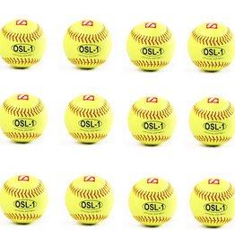 """barnett OSL-1 Softball Ball Wettkampf, Größe 12"""", Farbe fluo gelb, 12 Stück (1 Dutzend)"""