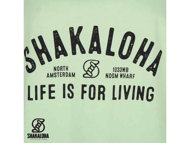 Shakaloha Womens Shirt Lime - Organic Cotton with Shakaloha Print