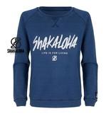 Shakaloha Women's Sweater Crew Blue - Organic Cotton with Shakaloha print