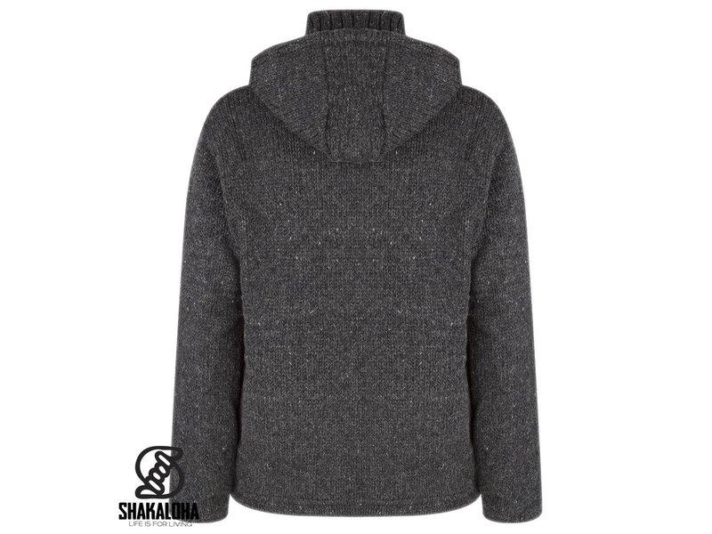 Shakaloha Flash Ziphood Antraciet Donkergrijs Gebreid wollen vest fleece gevoerd met afneembare capuchon