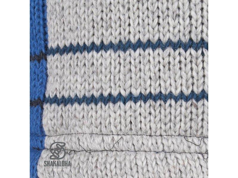 Shakaloha Dames Patchwork Multicolor Fleece Gevoerd Wollen Vest met blauw en lichtblauwe vlakken