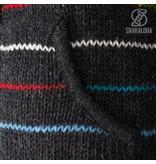 Shakaloha Gebreid fleece gevoerde wollen dames vest met gekleurde strepen