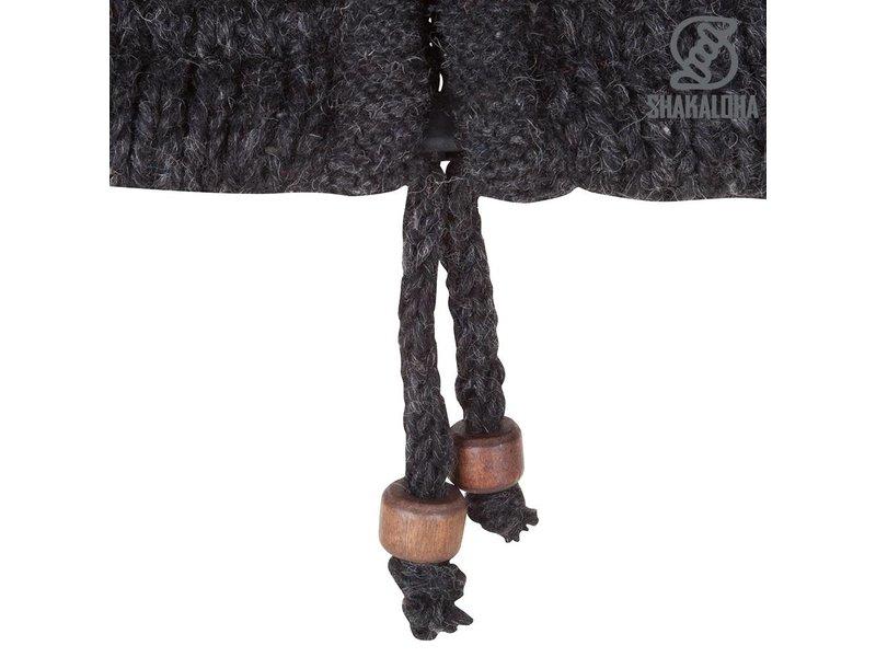 Shakaloha Donkergrijs gebreid wollen dames vest met fel gekleurde horizonatale strepen
