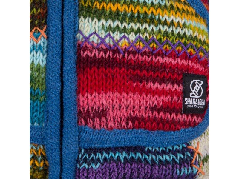 Shakaloha Patchwork Vest van wol Vintage Mullticolor met felle kleuren en blauwe bies