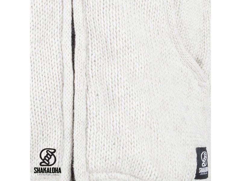 Shakaloha Unisex Gebreid Wollen Vest Shakaloha Gadi Classic Beige met capuchon