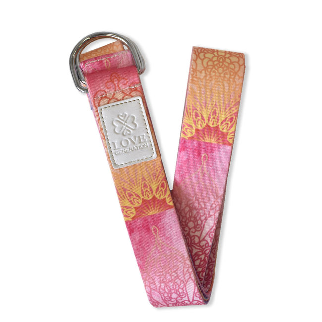 Love Generation Full Color Yoga Strap - Curly