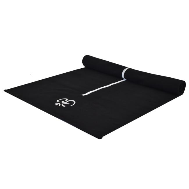 Katoenen Yogamat | Zwart met Alignment Streep | 188 cm lang
