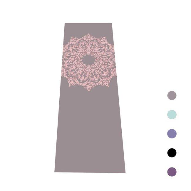 Yogamat Mandala   Antraciet met Oudroze Print   Sticky - 4 mm    Love Generation