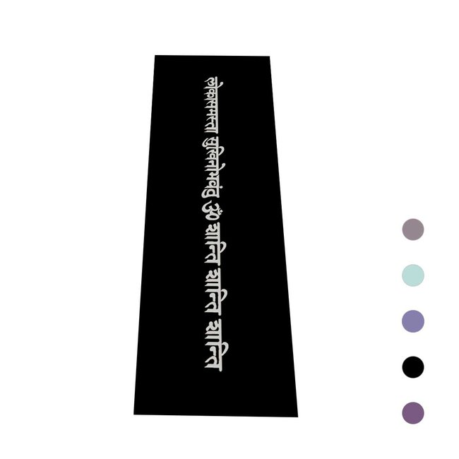Yogamat Mantra  | Zwart met Zilveren Print | Sticky -4 mm | Love Generation