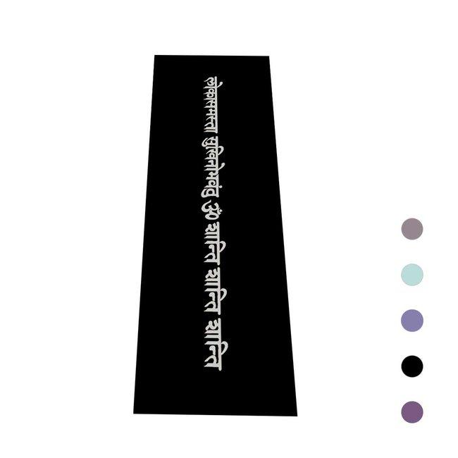 Yogamatte Mantra - Schwarz mit Silber Druck - 4mm