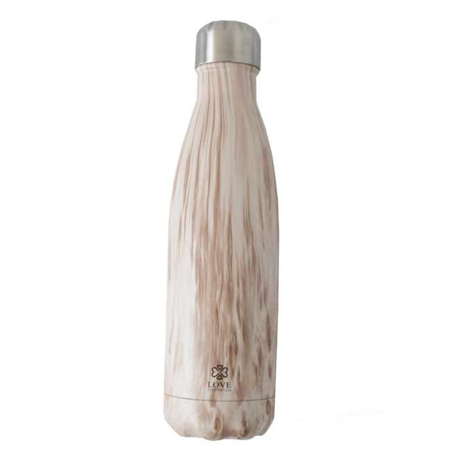 Water Bottle Wood Light Brown - 500ml - Insulated