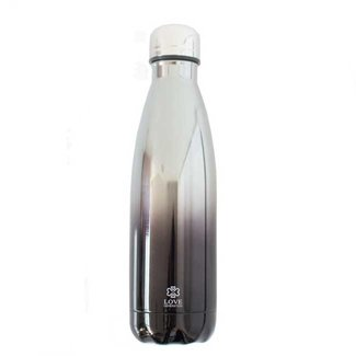 Love Generation Water Bottle Glossy Black & Silver - Insulated