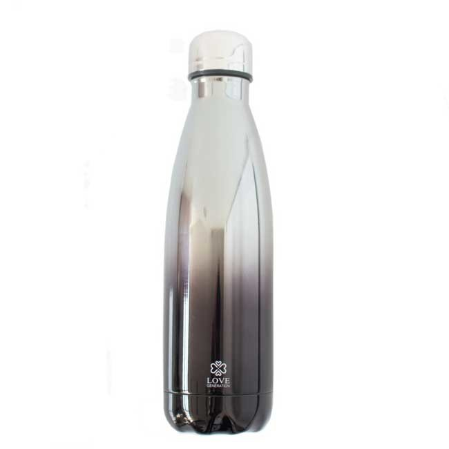 Water Bottle Glossy Black & Silver - 500ml - Insulated