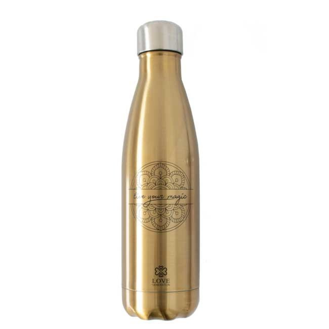 Water Bottle Glossy Gold - Live Your Magic - 500ml -Insulated
