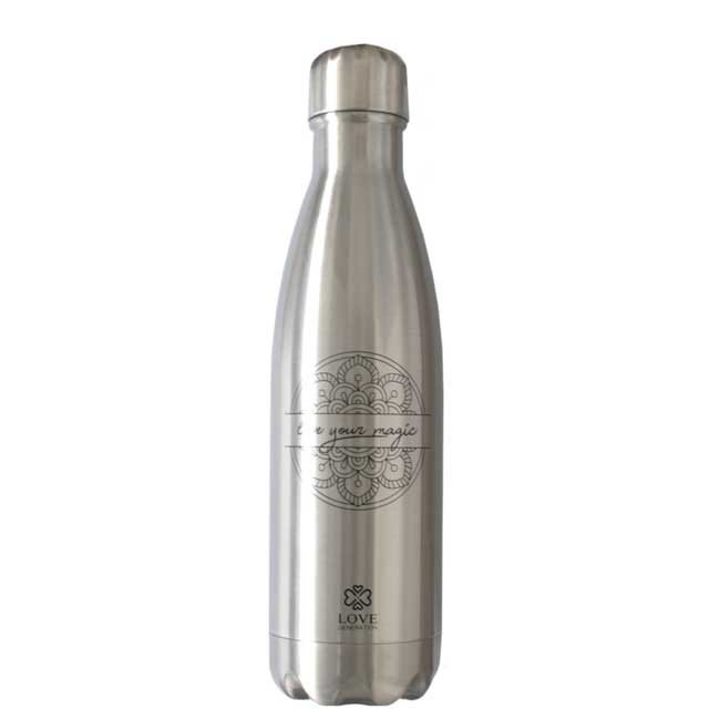 Water Bottle Glossy Silver - Live Your Magic - 500ml- Insulated