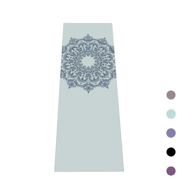 Yoga Mat Mandala - Mint with Blue Print - 4mm
