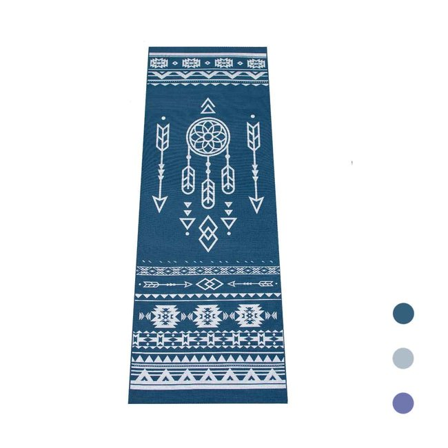 Yogamatte Tribal - Dunkel Blau mit Silber Druck - Extra Dick - 6mm