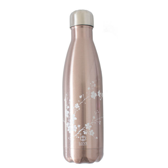 Water Bottle Glossy Rose Gold - White Blossom - 500ml -Insulated