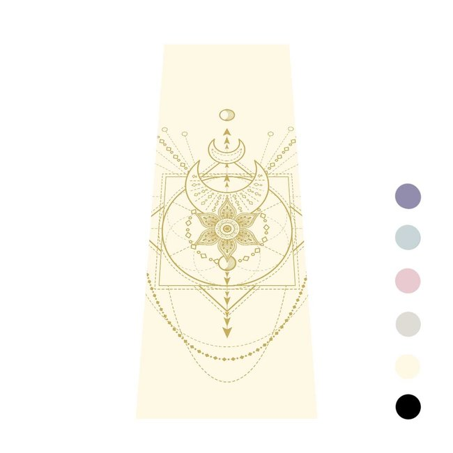 Yogamat Sacred   Crème Wit met Gouden Print   Extra Dik Sticky - 6 mm   Love Generation