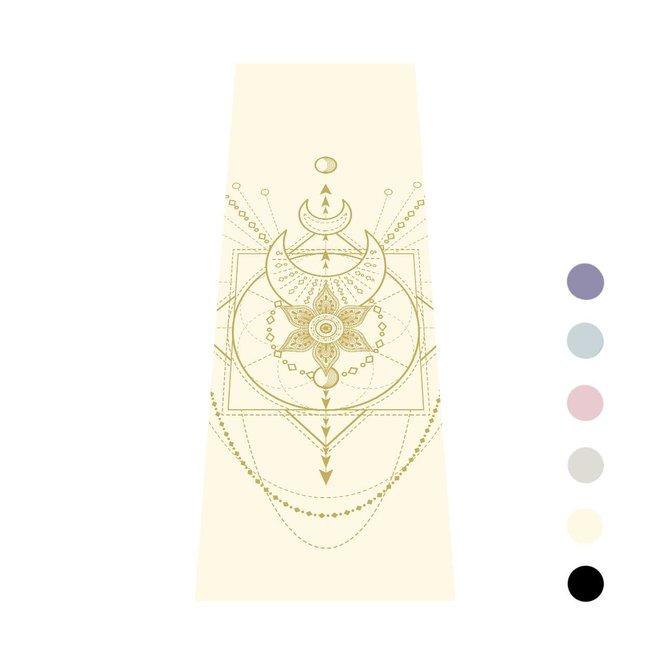 Yogamatte Sacred - Cremeweiß mit Golden Druck - Extra Dick - 6mm
