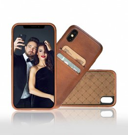 Bouletta Bouletta iPhone Xs Max BackCover met vakjes (Burned Cognac)