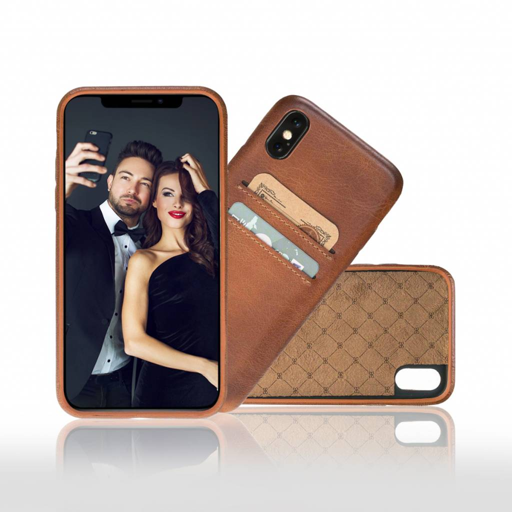 Bouletta Bouletta iPhone Xs BackCover met vakjes (Burned Cognac)
