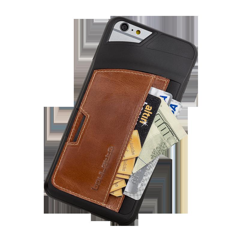 Bouletta Bouletta - iPhone 6(S) Elastic BackCover met vakje (Rustic Cognac)