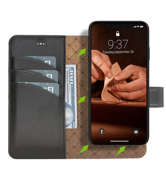 Bouletta Bouletta - iPhone 11 Pro Max 2-in-1 Afneembare BookCase (Rustic Black)