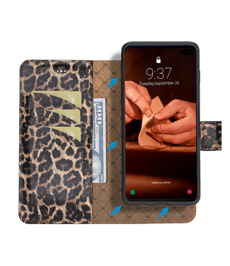 Bouletta Samsung Galaxy S10 Plus - Afneembare  2-in-1 BookCase - Smooth Leopard