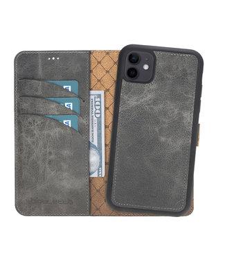 Bouletta Bouletta - iPhone 12 - 2-in-1 Afneembare BookCase - Marble Grey