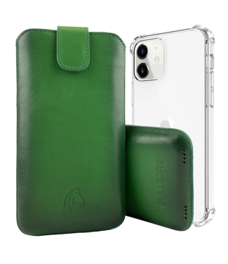 Pulledro Pulledro - iPhone 12 (Pro) - Leder Pouch & BackCover - Dark Green