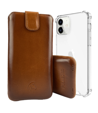 Pulledro Pulledro - iPhone 12 (Pro) - Leder Pouch & BackCover - Burned Cognac