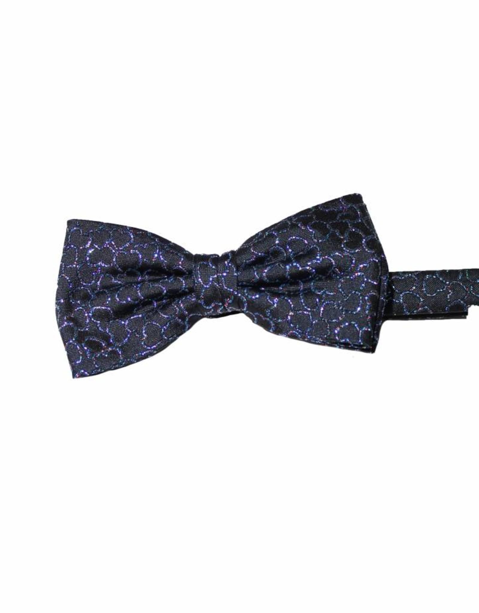 Mooie Lurex/organz, feeststrik, blauw met glitterhartjes