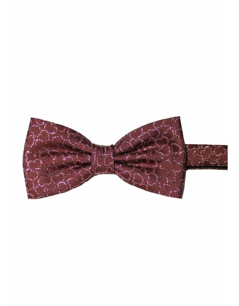 Mooie Lurex/organza, feeststrik, bordeaux rood met glitterhartjes