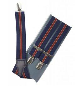 Bretels blauw, rode streep, breed (36mm)