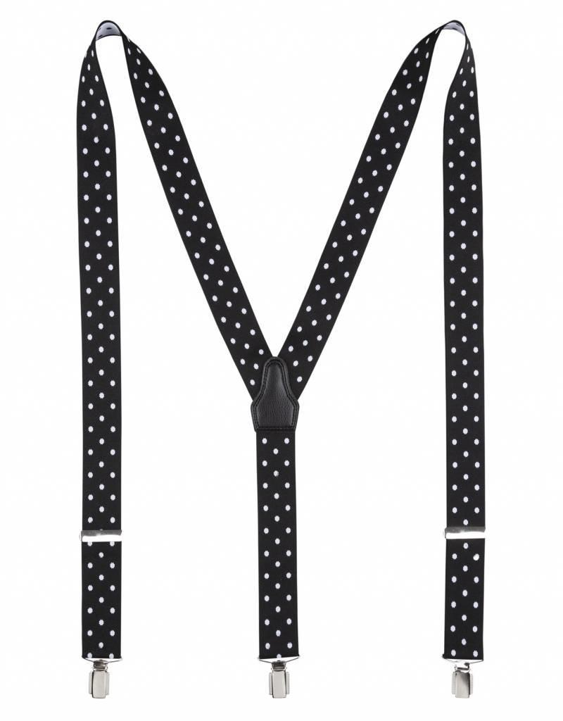 Bretels, zwart met witte stippen, breed (36mm) .