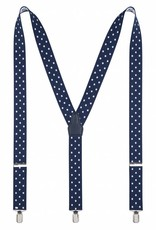 Bretels, blauw met witte stippen, breed (36mm) .