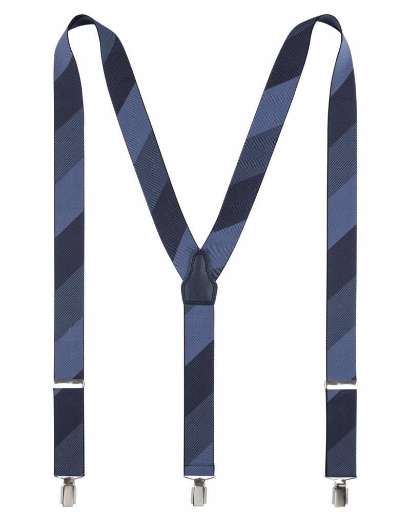 Bretels, blauwe streep schakering, breed (36mm)