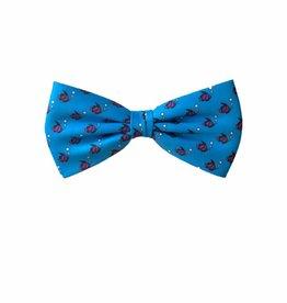 Hippe strik, kobalt blauw met visjes