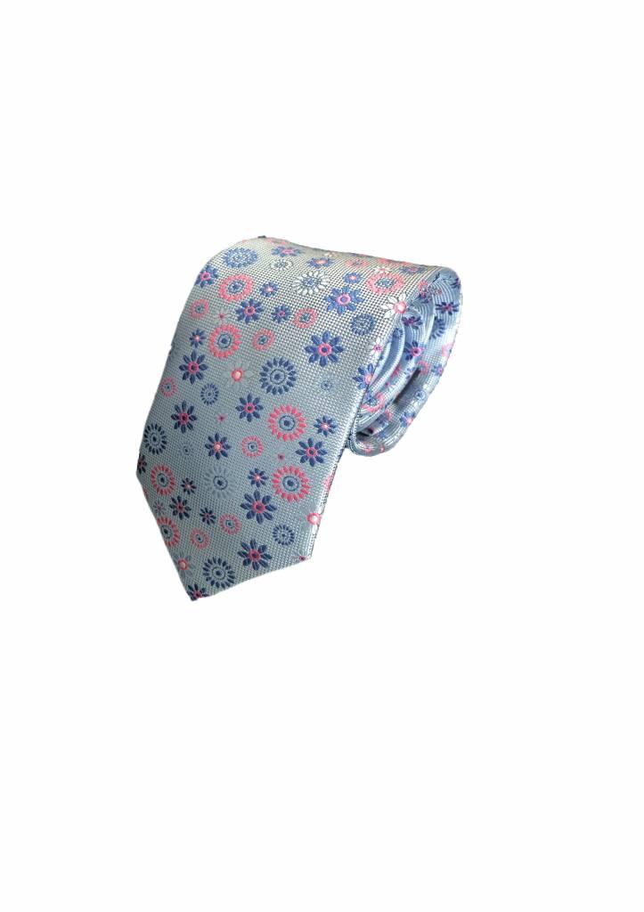 Vrolijke das, lichtblauw met bloem-motief