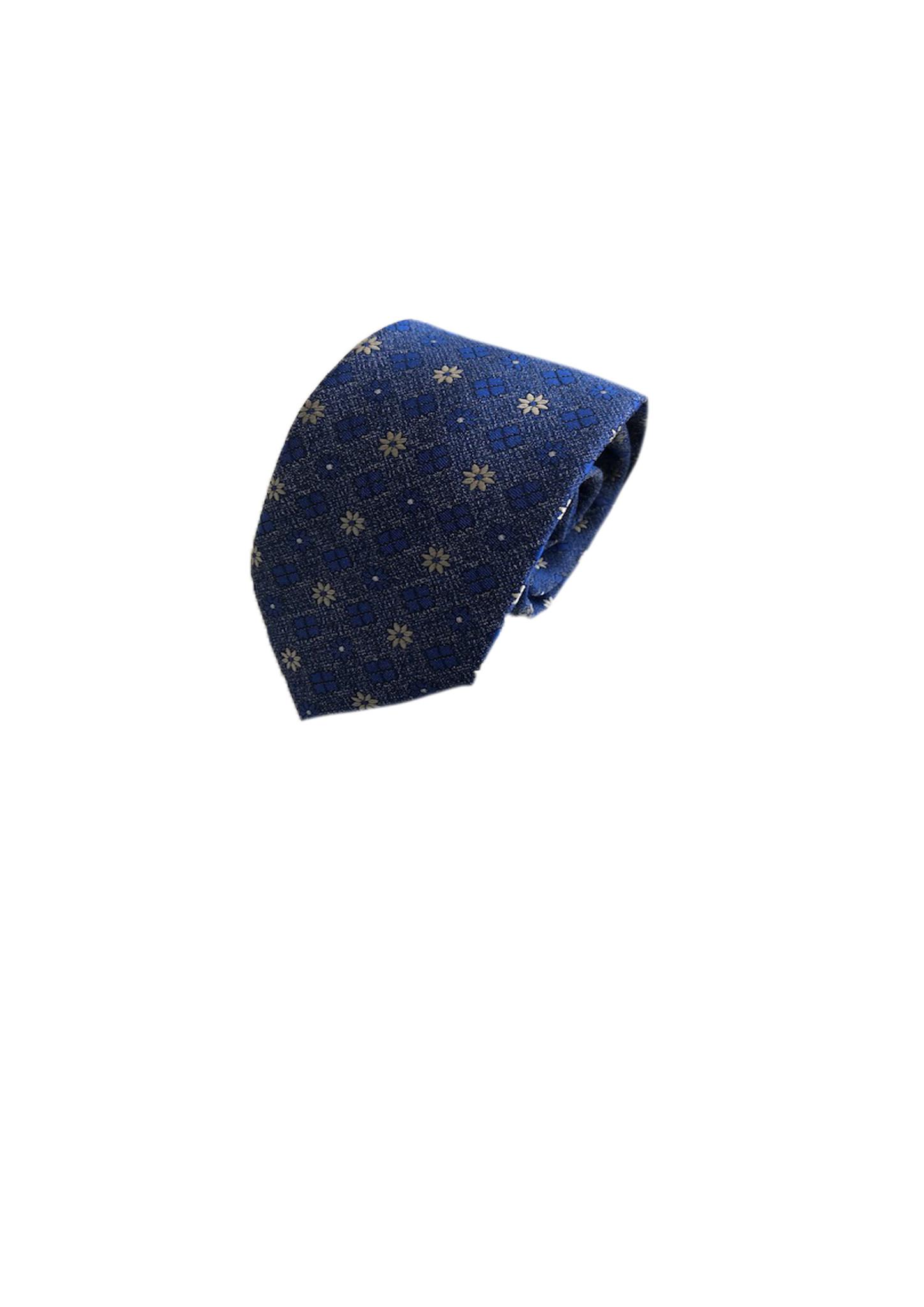 Stropdas bloemmotief, blauw denim