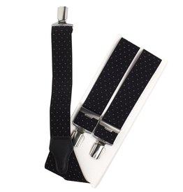 Bretels, zwart met wit stipje, breed (36mm) .