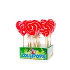 Kermis lolly hart rood/wit x17