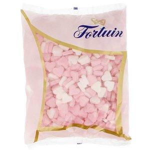 Fortuin geboorte hartjes 1kg roze wit (vruchtensmaak)