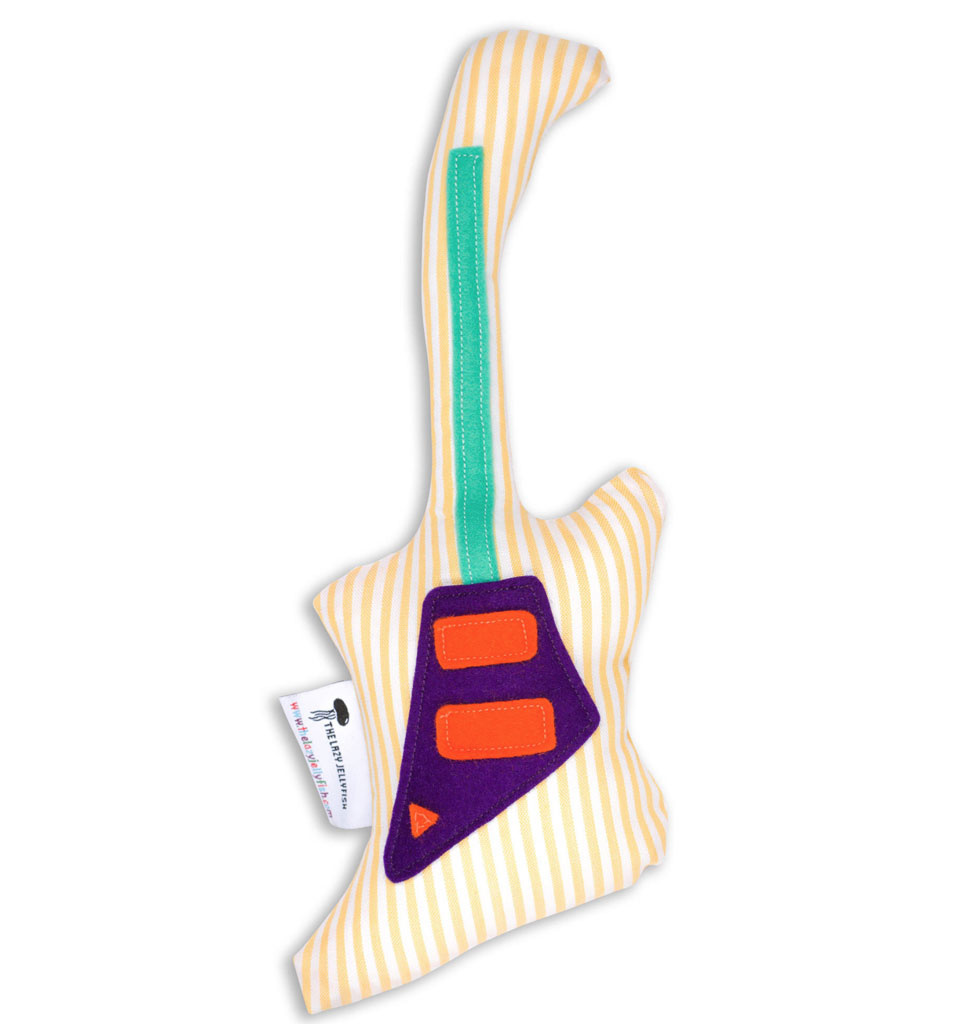 the Lazy Jellyfish Striped guitar rattle 20 cm