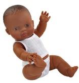 Paola Reina poppen Paola Reina babypop bruin jongen met ondergoed  34 cm